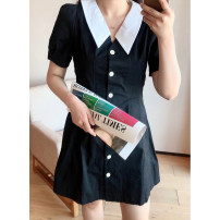 Women's large Spring 2021, summer 2021 black 1X,2X,3X Dress singleton  commute easy moderate Cardigan Short sleeve Solid color Korean version V-neck Polyester, cotton puff sleeve Q5877#LB2005&210408 Xi Youzi 25-29 years old Button Middle-skirt