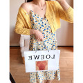 Women's large Spring 2021, summer 2021 Cardigan - blue, cardigan - yellow, suspender skirt - blue, suspender skirt - yellow 1X,2X,3X,4X Dress singleton  commute easy moderate Socket Nine point sleeve Solid color, broken flowers Korean version V-neck Cotton, others Three dimensional cutting routine