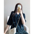 Women's large Spring 2021 black 1X,2X,3X Knitwear / cardigan singleton  commute easy moderate Cardigan three quarter sleeve Solid color Korean version Polo collar routine Three dimensional cutting routine S7650#LT210319 Xi Youzi 25-29 years old pocket