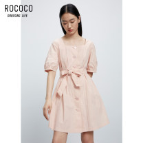 Dress Summer 2021 Pink S M L XL Short skirt singleton  Short sleeve commute square neck High waist Single breasted A-line skirt routine 25-29 years old Type A Rococo / Rococo Korean version 71% (inclusive) - 80% (inclusive) other cotton Pure e-commerce (online only)