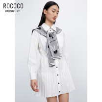 Dress Spring 2021 Optical white S M L XL Mid length dress Two piece set Long sleeves commute tailored collar High waist Single breasted other routine 25-29 years old Type H Rococo / Rococo Ol style 51% (inclusive) - 70% (inclusive) other polyester fiber