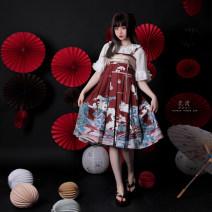 Dress Summer 2020 Maple red (in stock), black (in stock) S,M,L Middle-skirt singleton  Sleeveless High waist Socket Pleated skirt camisole Type A Pocket, print