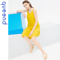 Nightdress Queen'd / Chundu yellow S M L XL XXL Simplicity camisole Leisure home Middle-skirt summer Solid color youth V-neck viscose  41% (inclusive) - 60% (inclusive) Summer 2020 Viscose (viscose) 58% polyamide (nylon) 42% Same model in shopping mall (sold online and offline)