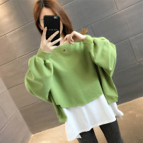 Sweater / sweater Autumn of 2019 Green White Black Beige grey S M L XL Long sleeves routine Socket Fake two pieces routine Crew neck easy commute routine 96% and above Kolena Korean version other KLN6154 Splicing thread Other 100% Pure e-commerce (online only)