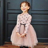 Dress Black, pink female Other / other The skirt is one size smaller. Please pay attention, size 100 suggests height 80-90110 suggests height 90-100120 suggests height 100-110130 suggests height 110-120140 suggests height 120-130150 suggests height 130-140 spring and autumn Korean version Dot cotton