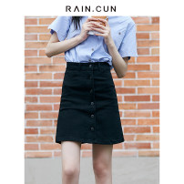 skirt Summer 2021 XS S M L XL XXL XXXL Short skirt Versatile High waist A-line skirt Solid color Type A 25-29 years old More than 95% Denim Rain.cun/ran and pure cotton Pocket button Cotton 98% polyurethane elastic fiber (spandex) 2% Pure e-commerce (online only)