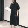 Dress Spring 2021 black FREE SIZE Mid length dress singleton  Short sleeve street Polo collar Loose waist Solid color Socket Pencil skirt routine Others 25-29 years old Type H Pocket, button 81% (inclusive) - 90% (inclusive) other other Europe and America