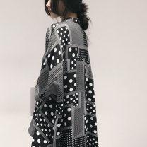 Lace / Chiffon Spring 2021 White, black FREE SIZE three quarter sleeve commute Cardigan singleton  easy Regular V-neck Dot routine 25-29 years old Print, button Retro 81% (inclusive) - 90% (inclusive) polyester fiber