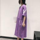 Dress Summer 2020 Purple, black FREE SIZE Mid length dress singleton  Short sleeve street Crew neck Elastic waist Solid color Socket Pencil skirt routine Others 25-29 years old Type H Pocket, lace up, strap, zipper 81% (inclusive) - 90% (inclusive) other cotton Sports & Leisure