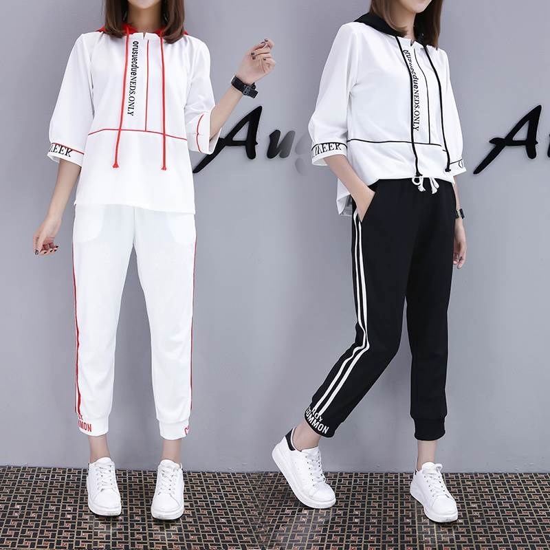 Casual suit Summer 2017 Black and white (suit) white red (suit) black top S M L XL XXL XXXL 18-25 years old cotton