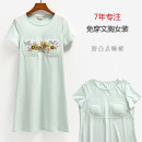 Nightdress buupnn S M L XL XXL 3XL Simplicity Short sleeve Leisure home Middle-skirt summer Plants and flowers youth Crew neck cotton printing 81% (inclusive) - 95% (inclusive) Lycra fabric Summer of 2019 Cotton 90.5% polyurethane elastic fiber (spandex) 9.5%