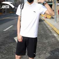 Sports suit 95928113+952127311-0405RL Anta male XS S M L XL XXL XXXL Short sleeve Polo collar Pant Socket Summer 2021 Sports & Leisure Super light and breathable Sports life Cotton polyester Brand logo pattern yes