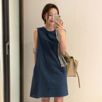 Dress Summer of 2019 S,M,L,XL Middle-skirt singleton  Sleeveless commute Crew neck High waist Solid color zipper A-line skirt other Others Type A Other / other Korean version Splicing 31% (inclusive) - 50% (inclusive) brocade hemp