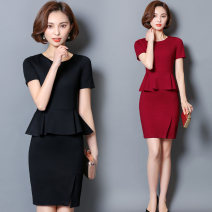 Dress Summer 2017 Red, black, black [long sleeve], red [long sleeve], black [middle sleeve], red [middle sleeve] S,M,L,XL,2XL,3XL,4XL Middle-skirt Fake two pieces Short sleeve commute Crew neck High waist Solid color zipper One pace skirt routine Others 18-24 years old Type X Other / other Ol style