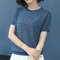 T-shirt White, black, blue, pink S,M,L,XL,2XL,3XL,4XL,5XL Summer of 2019 Short sleeve Crew neck easy Regular routine commute silk 96% and above Korean version classic Color matching, solid color, thin horizontal stripe Mobile brother Hollow out, bright silk