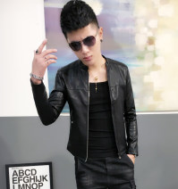 leather clothing Others Fashion City Red plush, black plush, red thin, black thin M. L, XL, 2XL, 3XL, remind you that the size of clothes in small shops is too small, EMS SF does not include mail have cash less than that is registered in the accounts Imitation leather clothes stand collar Slim fit