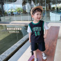suit McCarthy black 80cm,90cm,100cm,110cm,120cm,130cm male summer motion Short sleeve + pants 2 pieces routine There are models in the real shooting Socket Cartoon animation cotton children Expression of love dt330 other Chinese Mainland Zhejiang Province Huzhou City