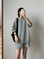 Fashion suit Summer 2020 M, L Floral grey suit top + shorts, dark grey suit top + shorts, white suit top + shorts, floral grey suit top + skirt, dark grey suit top + skirt, white suit top + skirt 2020.6.16