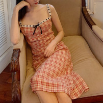 Dress Summer 2020 Retro Red Plaid Skirt XS,S,M,L Mid length dress singleton  Sleeveless commute other middle-waisted lattice Socket One pace skirt other camisole Type X Retro Panel, zipper 31% (inclusive) - 50% (inclusive) other cotton