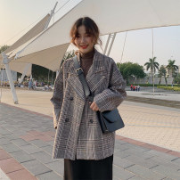 woolen coat Autumn of 2018 40. 2XL, 3XL, 4XL, big size Picture color other 81% (inclusive) - 90% (inclusive) Long sleeves commute double-breasted tailored collar lattice Straight cylinder Korean version polyester fiber