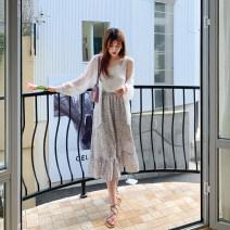 Women's large Summer 2021 White flowers skirt singleton  commute easy moderate Korean version polyester 96% and above Medium length