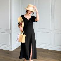 Women's large Summer 2021 black Dress singleton  commute easy moderate Socket Short sleeve Solid color Korean version V-neck polyester 96% and above Medium length