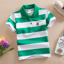 T-shirt Other / other male summer Short sleeve Lapel and pointed collar leisure time No model nothing cotton stripe Cotton 95% polyurethane elastic fiber (spandex) 5% 918-7 other Sweat absorption