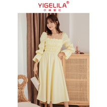 Dress / evening wear Weddings, adulthood parties, company annual meetings, daily appointments S M L egg-yolk yellow Sweet longuette High waist Spring 2021 other square neck zipper cotton 18-25 years old Solid color Yigelila pagoda sleeve Cotton 100%