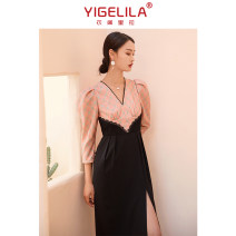 Dress Winter 2020 Black powder splicing S M L longuette singleton  Long sleeves commute V-neck High waist Solid color zipper One pace skirt routine 25-29 years old Type H Yigelila lady zipper 31% (inclusive) - 50% (inclusive) cotton Cotton 50% viscose 25% polyester 25% Exclusive payment of tmall