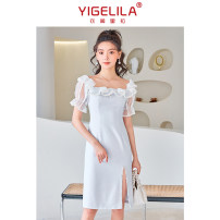 Dress Summer 2021 Light grey S M L Mid length dress singleton  Short sleeve commute square neck High waist Solid color zipper A-line skirt routine 25-29 years old Type A Yigelila lady zipper 30% and below polyester fiber Pure e-commerce (online only)
