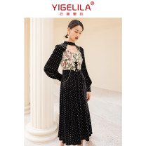 Dress Winter 2020 black S M L longuette singleton  Long sleeves commute stand collar High waist Dot zipper A-line skirt routine 25-29 years old Type A Yigelila lady Splicing 91% (inclusive) - 95% (inclusive) polyester fiber Polyester 92.6% polyurethane elastic fiber (spandex) 7.4%