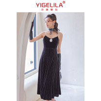 Dress Summer 2021 black S M L longuette singleton  Sleeveless commute V-neck High waist Solid color zipper A-line skirt routine camisole 25-29 years old Type A Yigelila lady Splicing 91% (inclusive) - 95% (inclusive) polyester fiber Polyester 92.6% polyurethane elastic fiber (spandex) 7.4%
