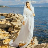 Dress Autumn 2020 S,M,L,XL longuette singleton  Long sleeves commute V-neck High waist Solid color Socket Big swing Type A Retro 71% (inclusive) - 80% (inclusive)