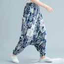 Women's large Spring 2021 White flowers on a blue background Large XL, large XXL trousers singleton  commute thin Decor Retro cotton 25-29 years old