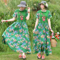 Dress Spring 2021 green L,XL,XXL longuette singleton  Short sleeve commute High collar Elastic waist Decor Socket Big swing routine 25-29 years old Type X Other / other ethnic style Stitching, embroidery, printing 51% (inclusive) - 70% (inclusive) other cotton