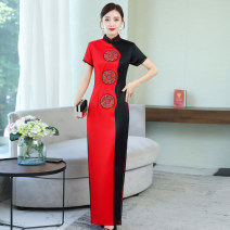 cheongsam Spring 2021 XXL, XXXL, m, l, XL, 4XL, quality goods in stock gules Short sleeve long cheongsam Retro High slit perform Straight front Abstract pattern 25-35 years old Embroidery other 81% (inclusive) - 90% (inclusive)