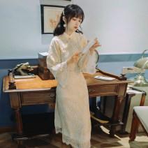 cheongsam Autumn 2020 S,M,L Light yellow Long sleeves long cheongsam Retro Low slit daily Oblique lapel Decor