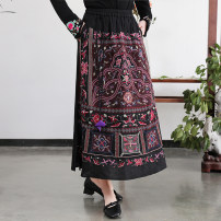 skirt Spring 2021 Average size black Mid length dress commute High waist A-line skirt other Type A 25-29 years old 91% (inclusive) - 95% (inclusive) brocade hemp Embroidery ethnic style 351g / m ^ 2 (including) - 400g / m ^ 2 (including)