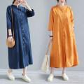 Dress Summer 2021 Dark blue, denim, orange M,L,XL,2XL singleton  three quarter sleeve commute V-neck Loose waist Solid color Single breasted 25-29 years old Retro 81% (inclusive) - 90% (inclusive) other hemp