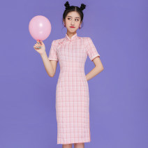 Dress Spring 2021 Powder grid S,M,L,XL Mid length dress singleton  Short sleeve commute stand collar High waist lattice Socket Pencil skirt routine 18-24 years old Type H literature 51% (inclusive) - 70% (inclusive) other
