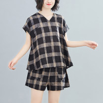 Fashion suit Summer 2021 M,L,XL,XXL Black lattice 25-35 years old 51% (inclusive) - 70% (inclusive) cotton