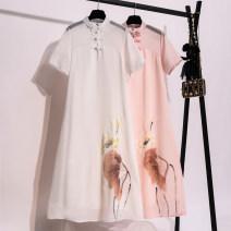 Dress Summer 2020 White, pink M,L,XL,2XL longuette singleton  Short sleeve commute stand collar Loose waist Hand painted A-line skirt routine Type A Retro Print, button Chiffon
