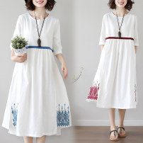 Dress Spring 2021 Red, blue M,L,XL,2XL Mid length dress singleton  three quarter sleeve commute Crew neck Loose waist Socket A-line skirt routine 25-29 years old Type A ethnic style Embroidery 31% (inclusive) - 50% (inclusive) cotton