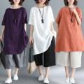 Dress Spring 2021 Orange, off white, purple L,XL,2XL Mid length dress singleton  Short sleeve commute Crew neck Loose waist Socket Type H Korean version 51% (inclusive) - 70% (inclusive) cotton