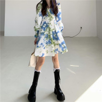 Dress Summer 2021 Blue, yellow Average size Middle-skirt Long sleeves commute One word collar High waist Socket Princess sleeve Korean version 31% (inclusive) - 50% (inclusive) cotton