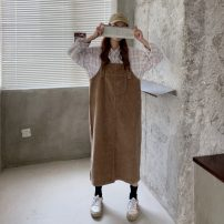 Dress Autumn 2020 Khaki, black Average size singleton  Sleeveless commute One word collar Loose waist Socket other straps Type H 71% (inclusive) - 80% (inclusive)
