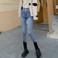 Jeans Winter 2020 Wash light blue S,M,L trousers High waist Pencil pants Wear out