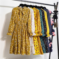 Dress Autumn of 2019 S,M,XL,L Mid length dress singleton  Long sleeves commute stand collar middle-waisted Decor Socket A-line skirt routine Others 30-34 years old Type A Korean version More than 95% Chiffon polyester fiber