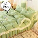 Bedding Set / four piece set / multi piece set cotton Embroidery Solid color 133x72 Mai language cotton 4 pieces 40 Bed sheet, bed skirt Qualified products Princess style 95% (inclusive) - 100% (exclusive) cotton Sanding Reactive Print