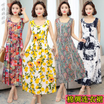 Dress Summer 2021 1, 2, 3, 4, 5, 6, 7, 8 longuette singleton  Sleeveless commute Crew neck High waist Decor Socket Big swing routine Others 40-49 years old Type A Mu xuanzi literature printing 71% (inclusive) - 80% (inclusive) other